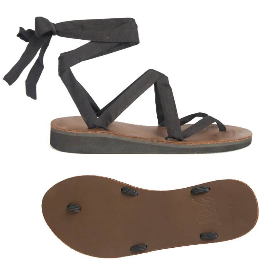8152a7c7e56 Brown Leather Ribbon Sandals